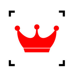 king crown sign red icon inside black vector image