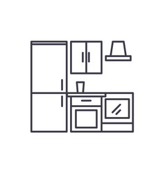 kitchen wardrobe line icon concept kitchen vector image