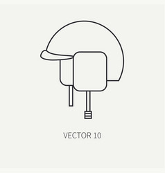 Line flat military icon - army helmet army vector