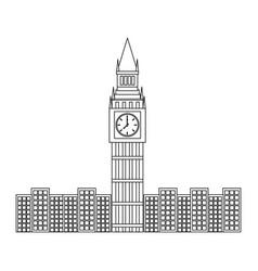 London big ben clock tower famous building city vector