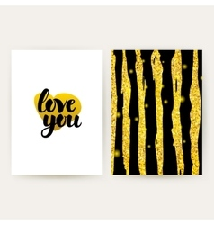 Love You Retro Gold Posters vector image