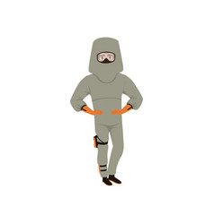 man in advanced bomb suit and helmet explosive vector image