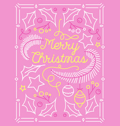 merry christmas greeting card with linear ornament vector image