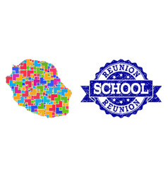 Mosaic map reunion island and textured school vector