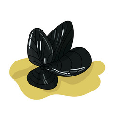 Mussels icon in cartoon style isolated on white vector