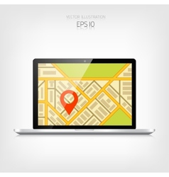 Navigation background with laptop and map vector