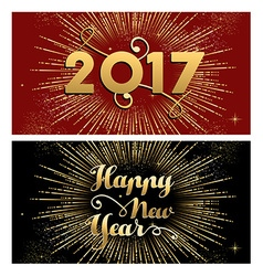 New Year 2017 gold firework greeting card set vector