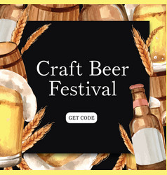 Oktoberfest frame with craft beer alcohol barley vector