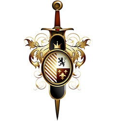 ornamental shield with sword vector image