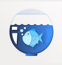 paper underwater sea with fishes waves paper cut vector image