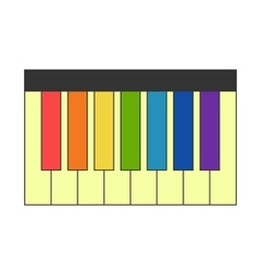 Piano with colorful keys vector