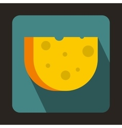 Piece of Swiss cheese icon flat style vector image