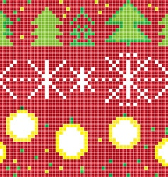 Pixel christmas pattern vector