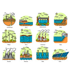 power plants icons set industrial buildings vector image