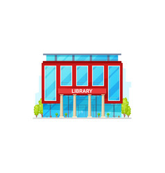 Public library isolated building facade exterior vector