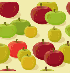 red and green apple seamless pattern vector image