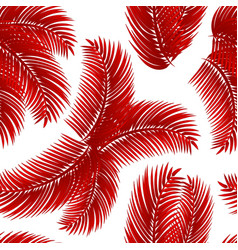 red palm leafs seamless pattern vector image