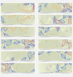 Retro vintage floral pattern card header set vector
