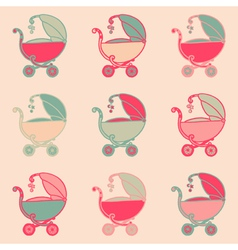 Seamless Baby Carriages vector image