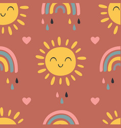 Seamless pattern with baby sun and rainbow vector