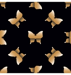 Seamless pattern with golden butterflies vector image