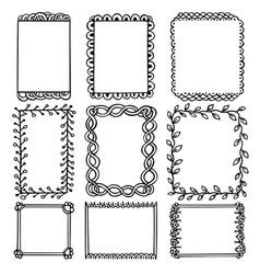 Set doodle black borders vector