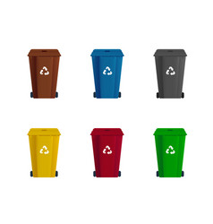 Set dumpster or trash can sorting garbage vector