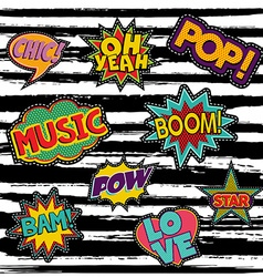 Set of retro pop art sticker or patch designs vector