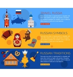set russia travel horizontal banners with place vector image