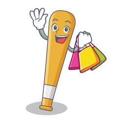 shopping baseball bat character cartoon vector image