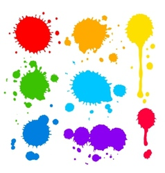 Splats and blobs of colored paint vector