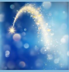 Stardust trail sparkling comet on bokeh vector