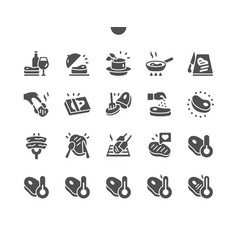 Steak well-crafted pixel solid icons vector