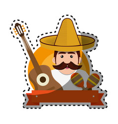 Sticker background man with moustache and mexican vector