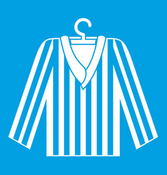 Striped pajama shirt icon white vector