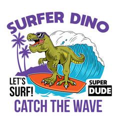 T-rex surfer dino print design vector