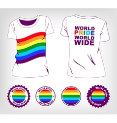 T-shirt with rainbow flag vector