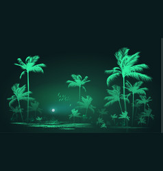 Tropical background with palm trees at nigh vector