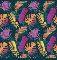 Tropical trendy pattern with exotic leaves vector