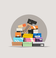 Various shoe boxes lying in a pile vector