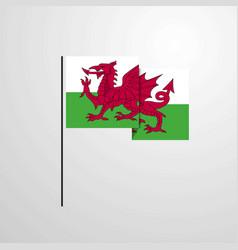 Wales waving flag design background vector