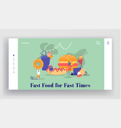 website people characters with fastfood huge vector image