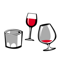 wine glass brandy glass whiskey glass vector image
