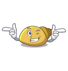 Wink mollusk shell character cartoon vector
