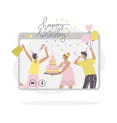 young people characters celebrating birthday vector image