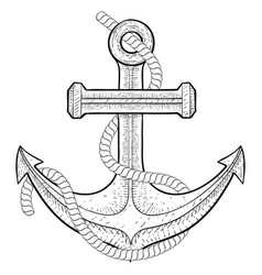 anchor with rope hand drawing vector image