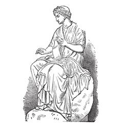 Calliope Muse vintage engraving vector image vector image
