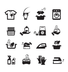 Laundry washing icons set vector image vector image