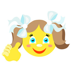 smiley girl with a thumbs up gesture vector image vector image