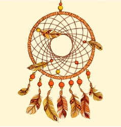 Ethnic dream catcher with feathers vector image vector image